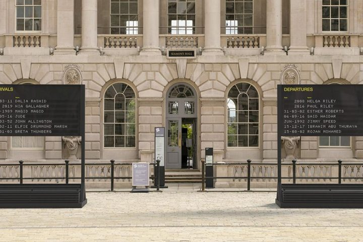 Two boards, one 'arrivals' and one 'departures' are situated in the Somerset House courtyard
