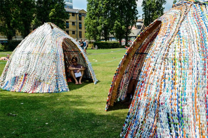 Huts knitted from recycled fabric