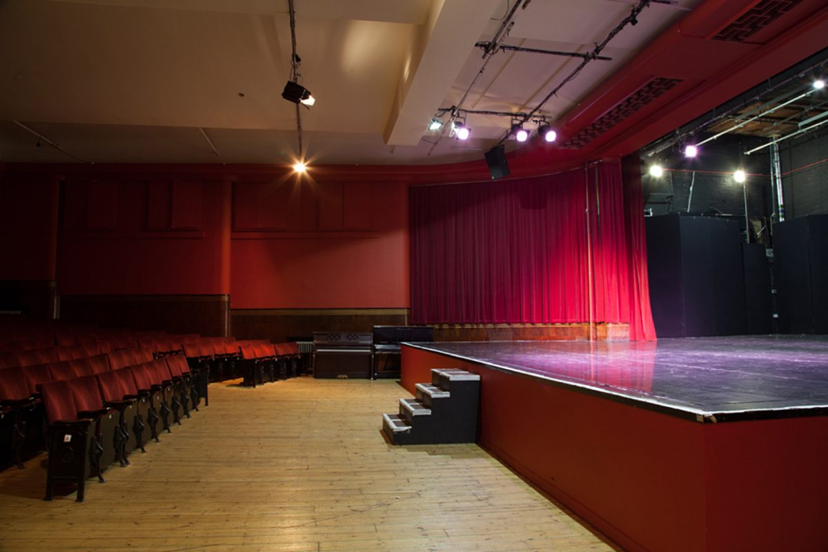 View from the side of the Toynbee Studios Theatre stage