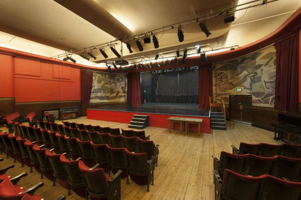 Interior of the Toynbee Theatre at Toynbee Studios including theatre seats and stage