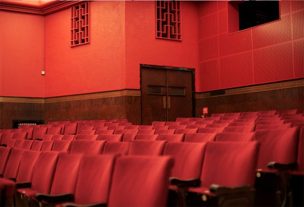 Empty theatre bathed in red light