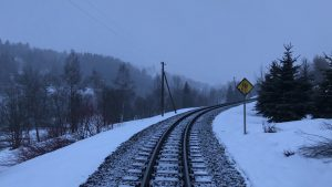 train track in the snow