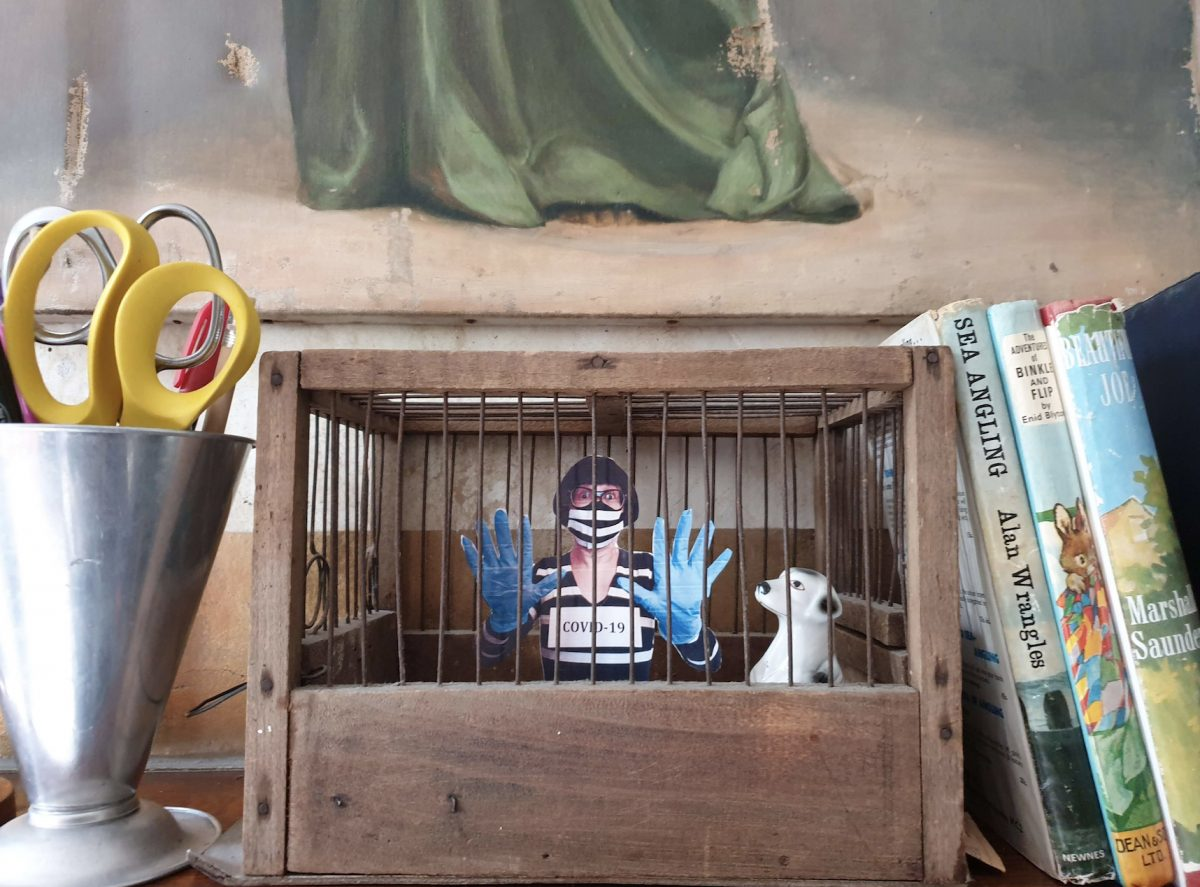 a pot of scissors, books and a wooden and metal cage on a shelf. inside the cage is a little person and a dog. the person is wearing a mask and gloves