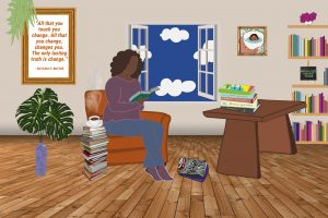 Illustration of a person sitting by a window in a room of books, reading.