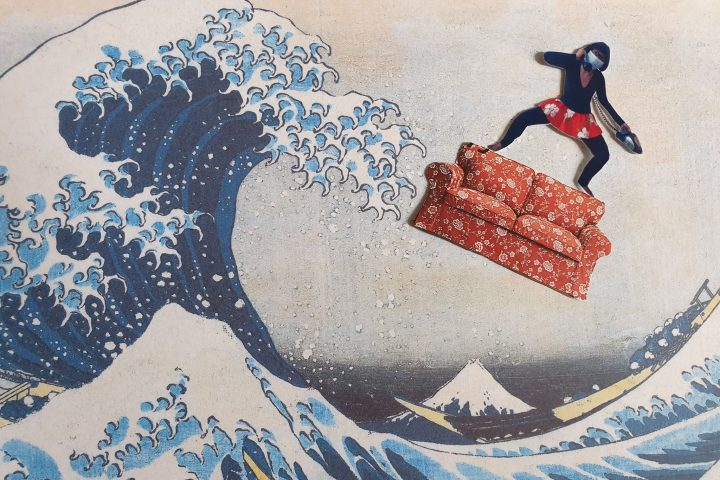 a collage of artist Stacy Makishi standing on a couch and surfing on Hokusai's 'The Great Wave'