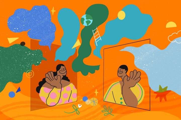 Colourful illustration of two people looking out of windows and waving at each other