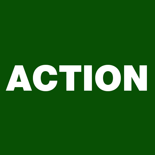 Dark green square with 'Action' written on it