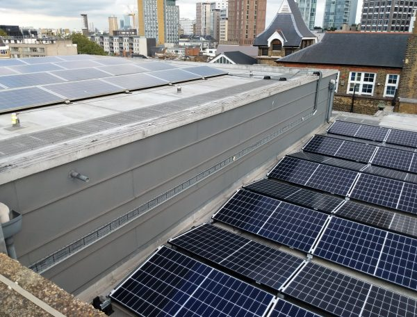 Roof of Toynbee Studios with solar panels on it