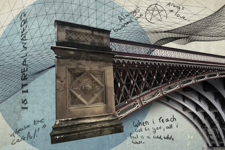 A bridge with an overlay of graphic mathematical drawing