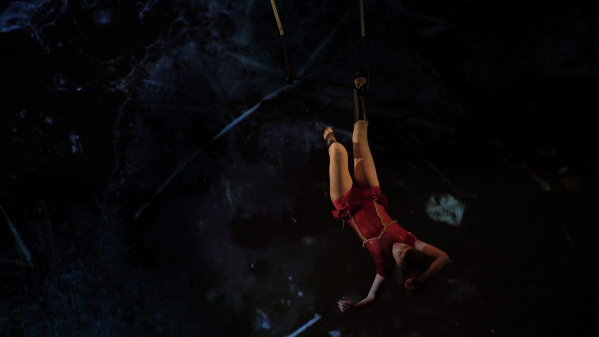 Circus performer hanging in the air attached to a rope by one foot against a dark backdrop