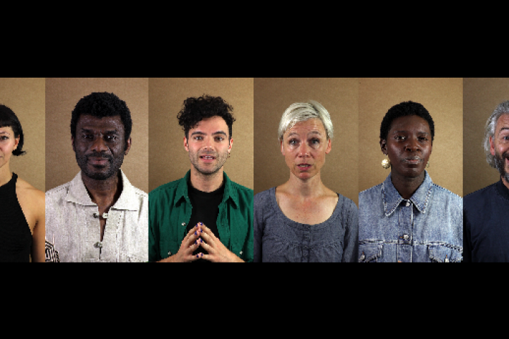 A series of six portrait images of people mid-talking