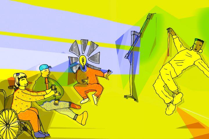 Illustration of people at an arts workshop