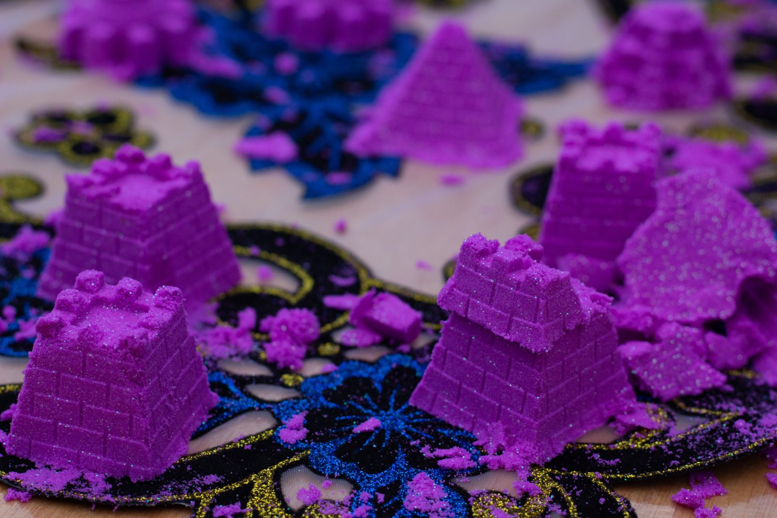 mini purple sandcastles