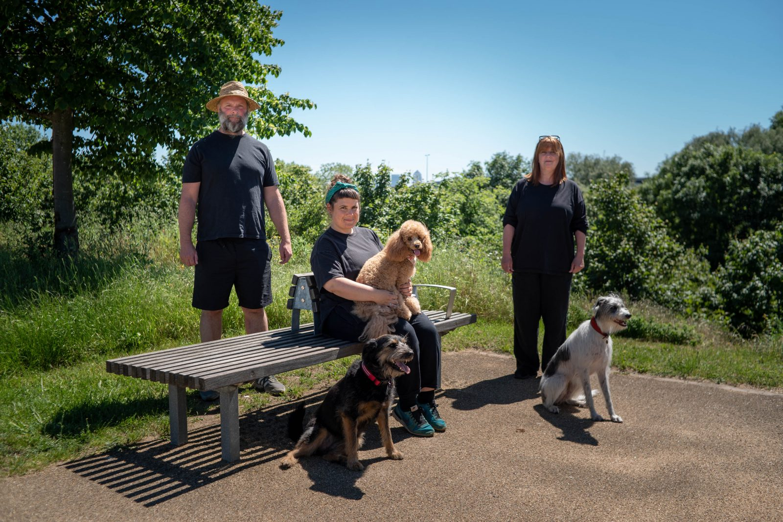 Three people and three dogs around a bench in a park