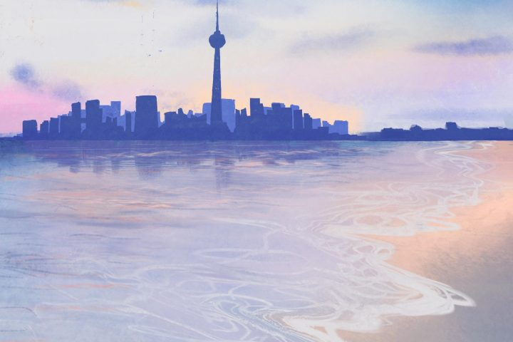 Illustration of a shore with skyscrapers in the distance